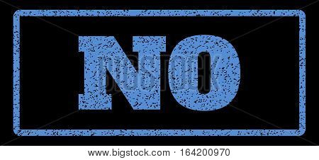 Blue rubber seal stamp with No text. Vector message inside rounded rectangular frame. Grunge design and unclean texture for watermark labels. Horisontal emblem on a black background.