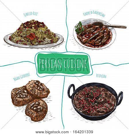 Iranian menu colorful illustration. Vector illustration of Persian cuisine.