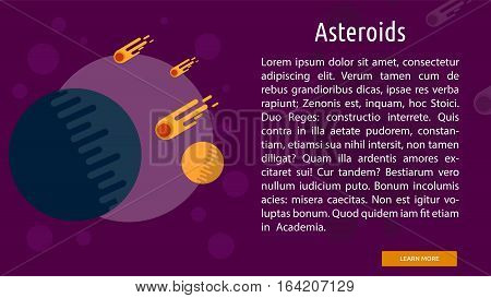 Asteroid Conceptual Banner | Great flat illustration concept icon and use for space, universe, galaxy, astrology, planet and much more.