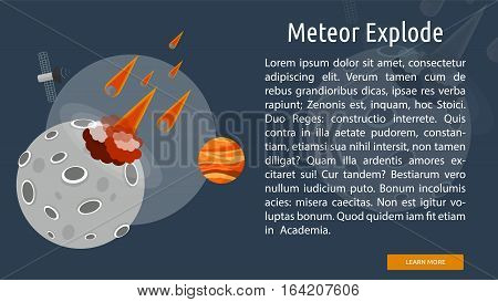 Meteor Explode Conceptual Banner | Great flat illustration concept icon and use for space, universe, galaxy, astrology, planet and much more.