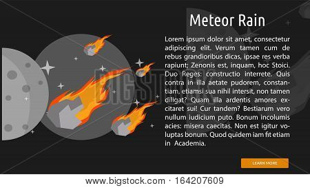 Meteor Rain Conceptual Banner  Great flat illustration concept icon and use for space, universe, galaxy, astrology, planet and much more.