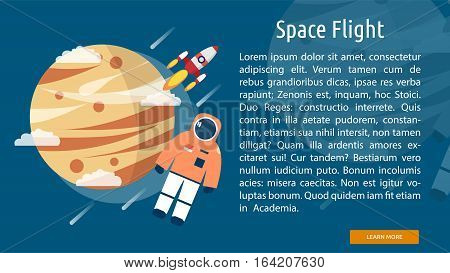 Space Flight Conceptual Banner | Great flat illustration concept icon and use for space, universe, galaxy, astrology, planet and much more.