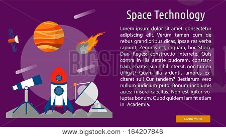 Space Technology Conceptual Banner | Great flat illustration concept icon and use for space, universe, galaxy, astrology, planet and much more.