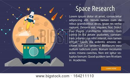 Space Research Conceptual Banner | Great flat illustration concept icon and use for space, universe, galaxy, astrology, planet and much more.