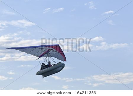 BALTIC SEA, SWEDEN ON JULY 25. View of an airborne flying boat, fly-boat above the sea on July 25, 2013 by the Baltic Sea, Sweden. Unidentified pilot. Editorial use.