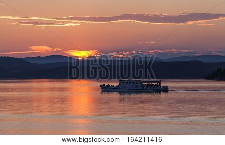 BALTIC SEA, SWEDEN ON JULY 25. View of a riverboat during sunset on July 25, 2013 by the Baltic Sea, Sweden. On tour in June, July and August, tourism and dinner. Editorial use.