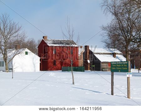 Typical 1800's territorial settlement located in Vincennes, Indiana, the Territorial Capitol of Indiana.