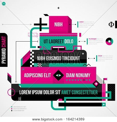 Pyramid Chart In Weird Geometric Style With Abstract Shapes And Flashy Colors. Eps10 Vector Template
