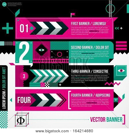 Three Banners In Weird Geometric Style With Abstract Shapes And Flashy Colors. Eps10 Vector Template