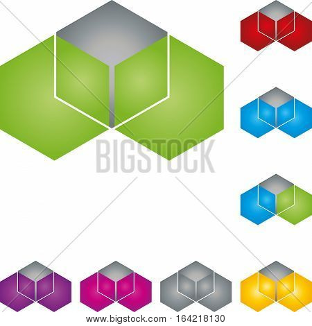 Hexagon, cube, colored, geometry and IT services logo