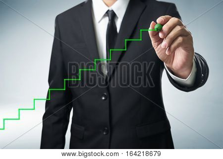 Benchmarking and market leader concept. Manager (businessman coach leadership)