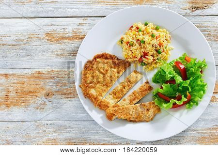 Crispy Southern Fried Pork Chops With Risotto And Fresh Salad
