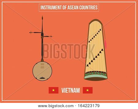 Vectors illustration of Instrument of Vietnam country