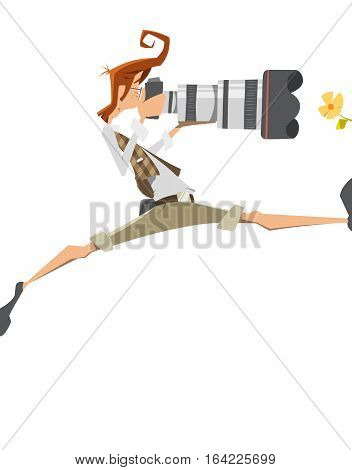Young man pro professional photographer with big lens camera. Passion extreme risk pose. Isolated on white background.