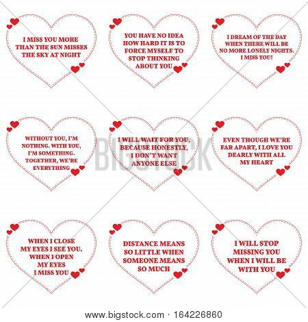 Set Of Quotes About Missing Love Over White Background. Simple Heart Shape Design.