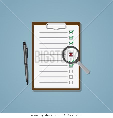 Folder with sheet and checklist with marks. Magnifying glass searching for cross. File and ball pen.