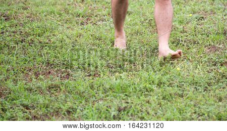 barefoot walk on green grass field with copy space