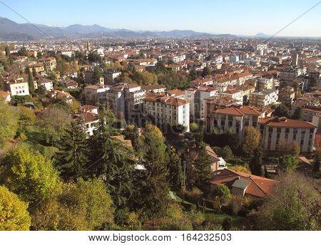 Beautiful cityscape of Citta Bassa, the Lower Town of Bergamo, Northern Italy