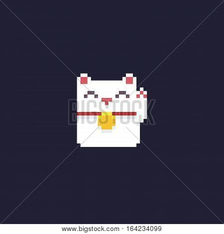 Pixel art maneki neko kitten isolated on dark background