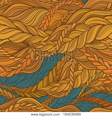 braid hair color seamless pattern on color background