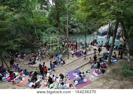 Kanchanaburi, THAILAND - January 1, 2017 : Erawan national park, most famous tourist place of the western area.