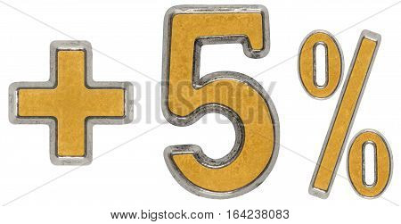Percent Benefits, Plus 5 Five Percent, Numerals Isolated On White Background