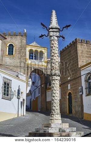 Pillory In Largo De Santa Clara Square. Elvas, Portugal.