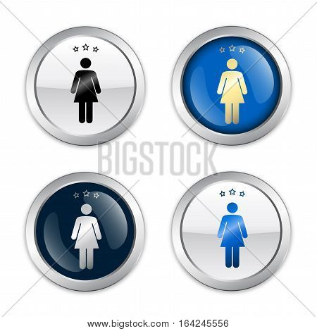 Restroom seals or icons with female symbol. Glossy silver seals or buttons.