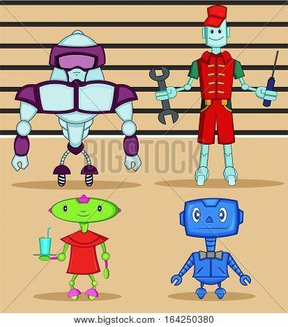 Robot Cartoon Characters Set. Four Robots. Vector Illustration.