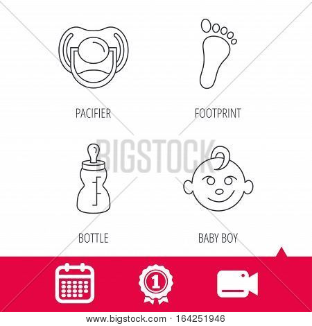 Achievement and video cam signs. Pacifier, baby boy and bottle icons. Footprin linear sign. Calendar icon. Vector