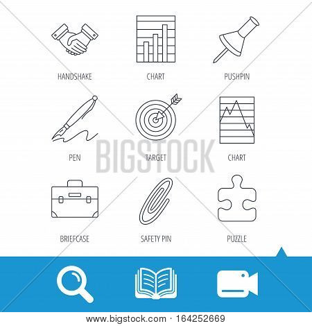 Handshake, graph charts and target icons. Puzzle, pushpin and safety pin linear signs. Briefcase and pen flat line icons. Video cam, book and magnifier search icons. Vector