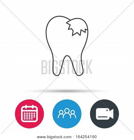Dental fillings icon. Tooth restoration sign. Group of people, video cam and calendar icons. Vector