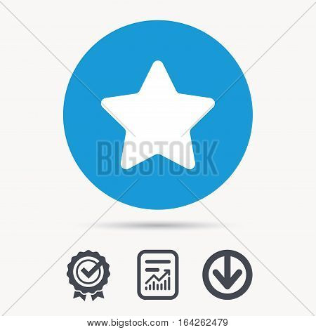 Star icon. Favorite or best sign. Web ranking symbol. Achievement check, download and report file signs. Circle button with web icon. Vector