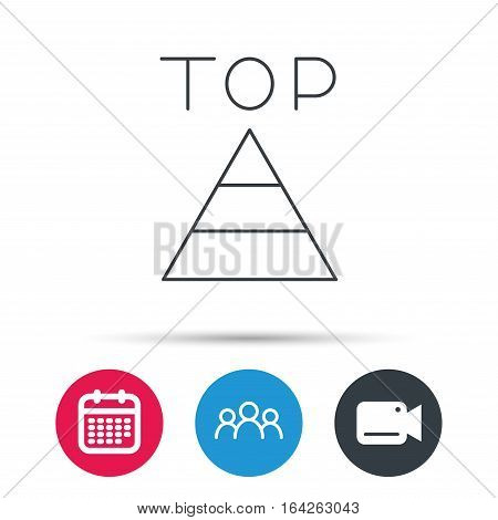 Triangle icon. Top or best result sign. Success symbol. Group of people, video cam and calendar icons. Vector