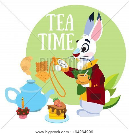 White Rabbit hurrying to the mad tea party. Illustration to the fairy tale Alice's Adventures in Wonderland. Template with place for text.