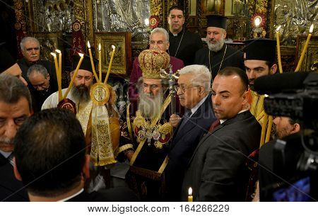 Bethlehem, Palestine. January 7Th 2017: Greek Orthodox Patriarch Theophilos Iii At Christmas Midnigh