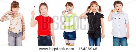 Five kids cleaning teeth, over white