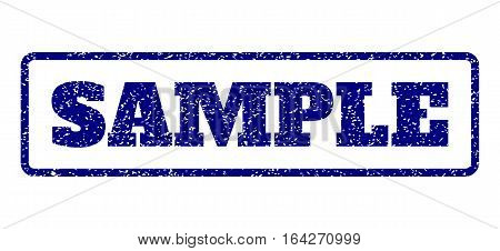 Navy Blue rubber seal stamp with Sample text. Vector caption inside rounded rectangular shape. Grunge design and scratched texture for watermark labels. Horisontal sign on a white background.