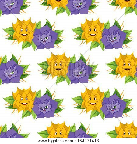 Fabulous flower from the fairy tale Alice's Adventures in Wonderland. Seamless pattern of yellow and lilac roses.