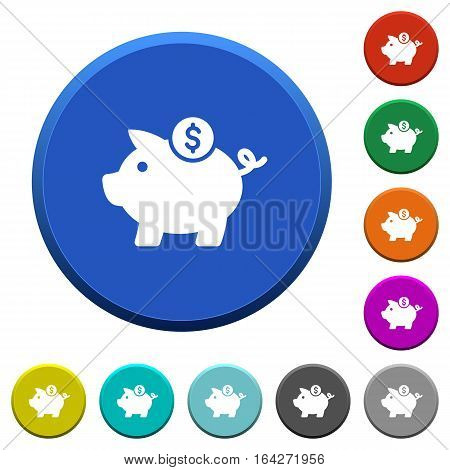 Dollar piggy bank round color beveled buttons with smooth surfaces and flat white icons