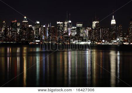 Midtown (West Side) Manhattan at night seen from Weehawken, NJ.