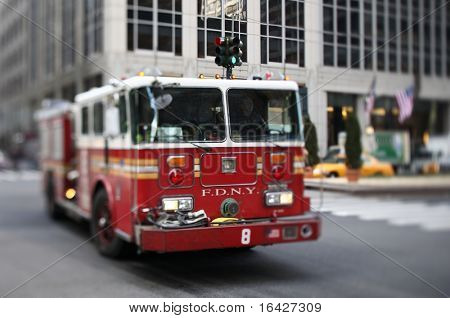 NYFD vehicle in midtown Manhattan (selective focus - tilt shift lens used)