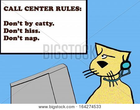 Color business cartoon about a customer service rep cat looking at the call center rules.