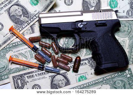 Drugs and weapons - drug market - drug lab - international crime
