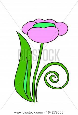 The pink flower on the green stem on a white background.