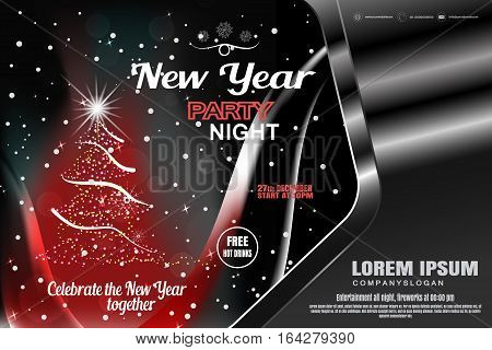 Vector New Year red poster in the gradient gray frame with Christmas tree radiance snowfall wave for holiday party.