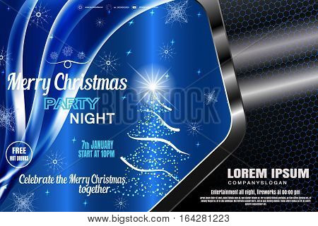 Vector Merry Christmas blue poster in the gradient gray frame with hexagon pattern Christmas tree radiance snowflake wave for holiday party.