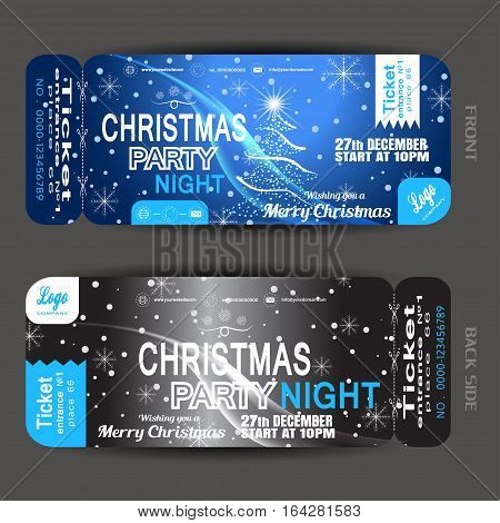 Vector Christmas night party ticket on the dark blue and gray gradient background with Christmas tree snowflakes wave and snowfall.