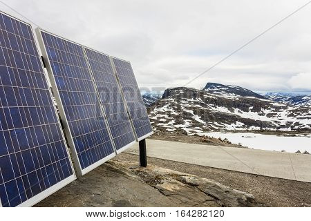 Photovoltaic Solar Panel Outdoor In Mountains Nature