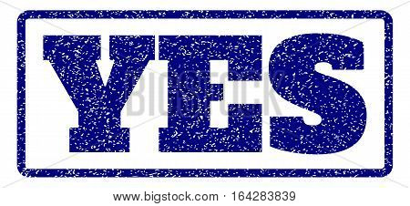 Navy Blue rubber seal stamp with Yes text. Vector tag inside rounded rectangular banner. Grunge design and unclean texture for watermark labels. Horisontal sticker on a white background.